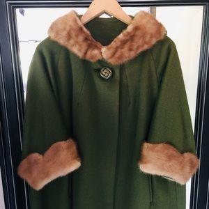 Forstmann Olive Wool Cape Coat Real Fur Trim